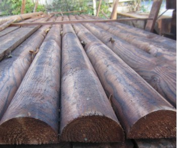 3.66m  x  100mm 1/2 round CREOSOTED