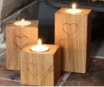 Oak Tea-light Holders (Set of three)