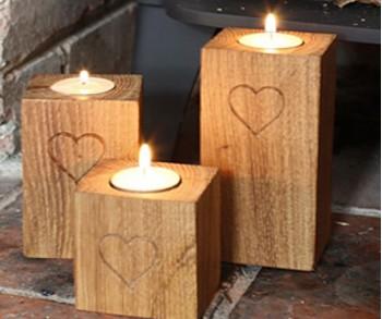 Oak Tea-light Holders (Set of three)